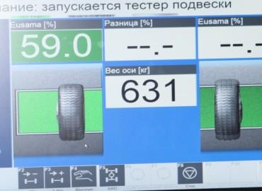 Диагностика подвески, тормозной системы, увода и амортизаторов на вибростенде.